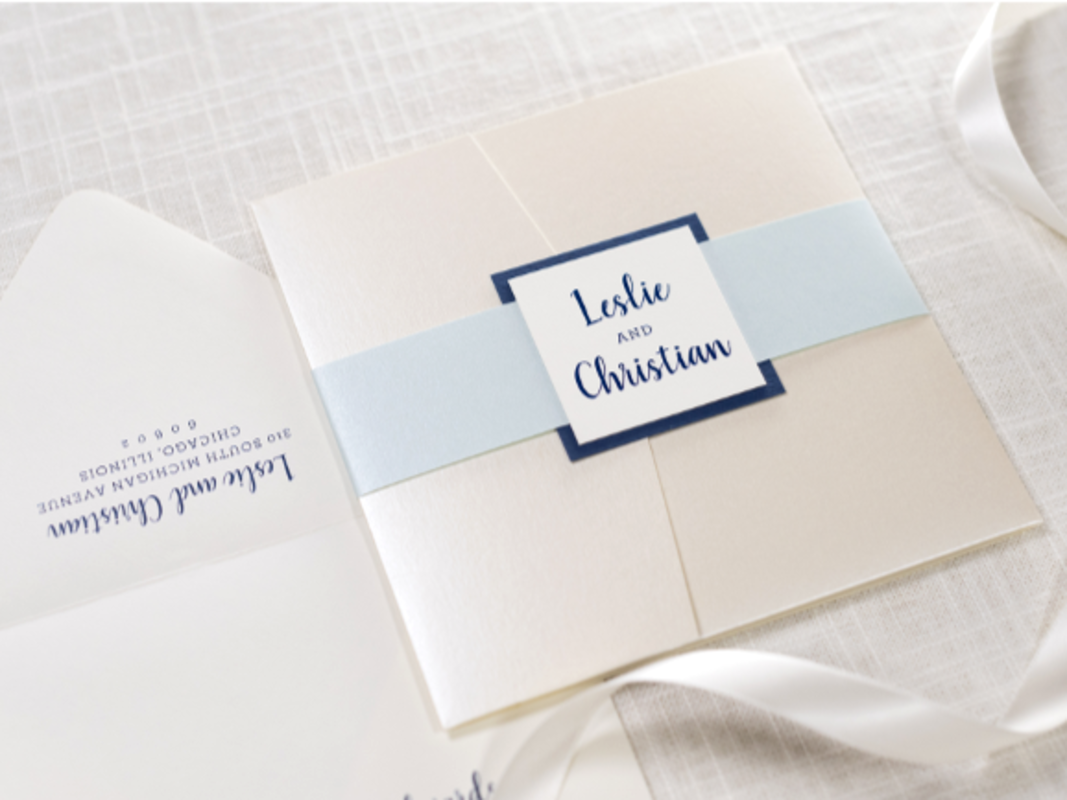 ELEGANT, FORMAL, AND MODERN SQUARE POCKET FOLD WEDDING INVITATION IN IVORY, CHAMPAGNE OPAL SHIMMER, AQUA, AND NAVY WITH BELLY BAND AND MONOGRAM SQUARE