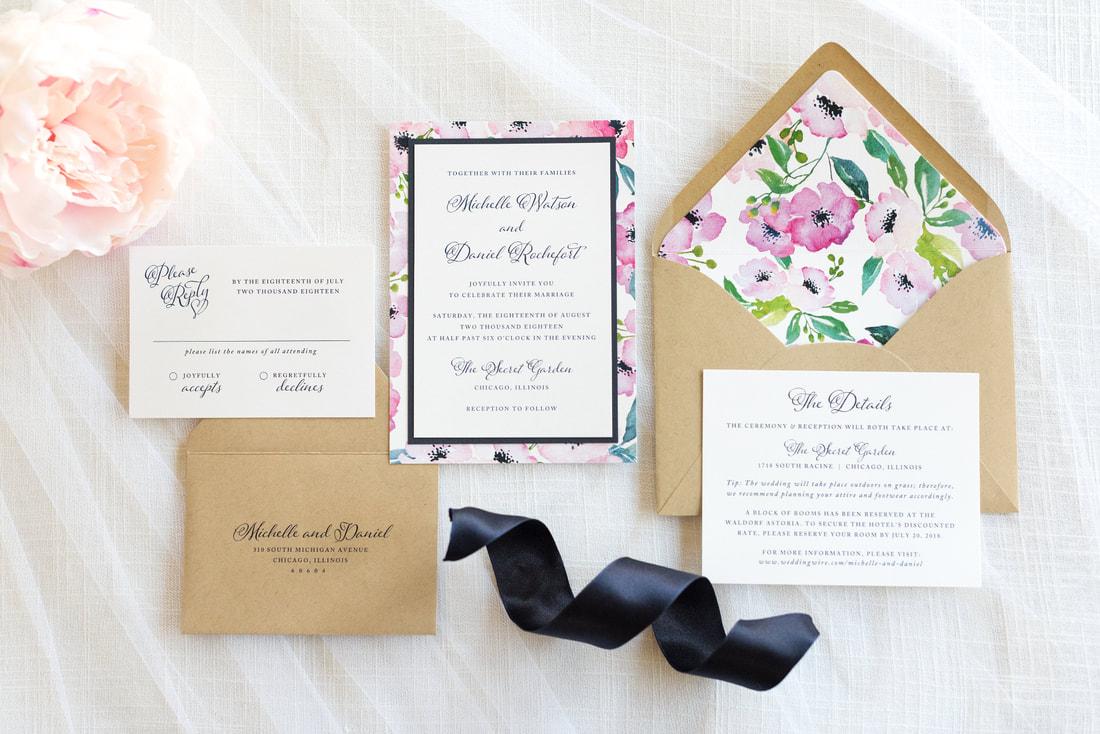floral layered wedding invitation in white, navy blue, kraft paper ...