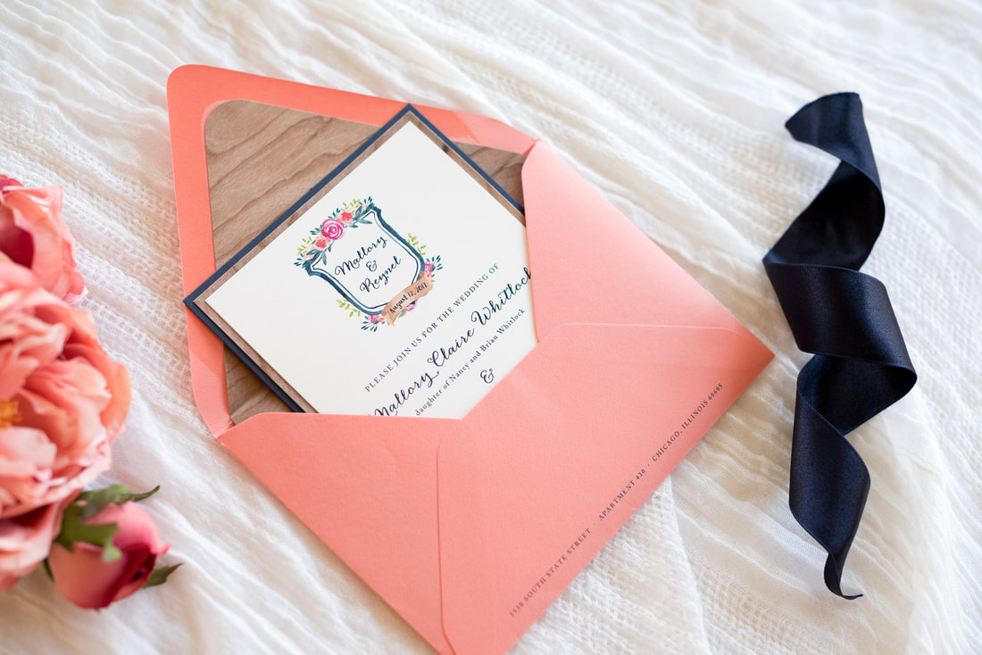 real cherry wood wedding invitation layered with ivory, navy blue ...