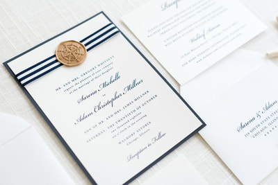 classic nautical wedding invitation with navy blue stripe ribbon and gold compass wax seal -  white, navy blue, and gold - chicago wedding invitations
