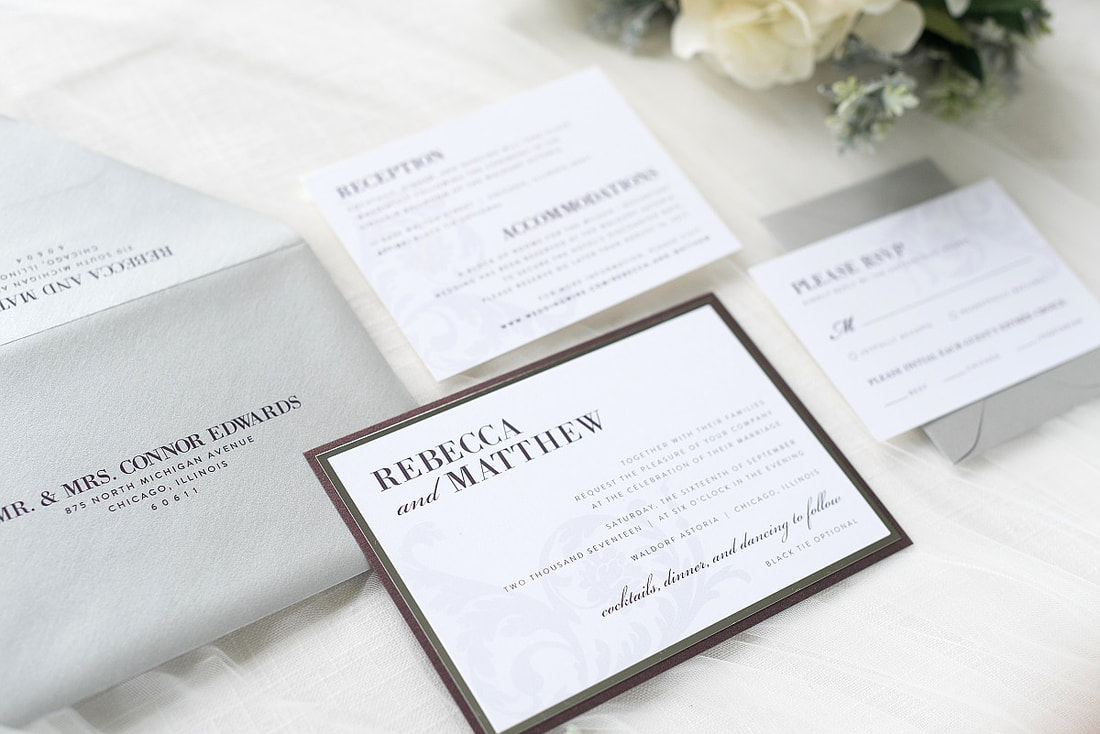 elegant & formal silver foil ornate and formal wedding invitation in ...