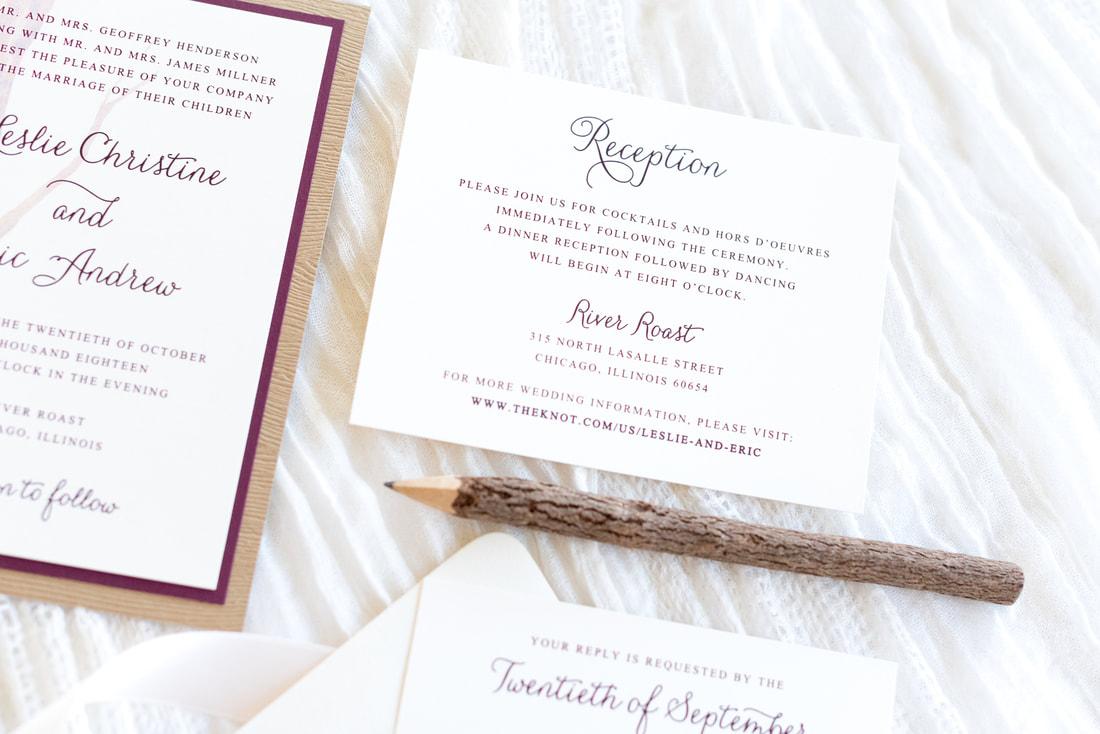 wood grain wedding invitation layered with ivory and burgundy ...
