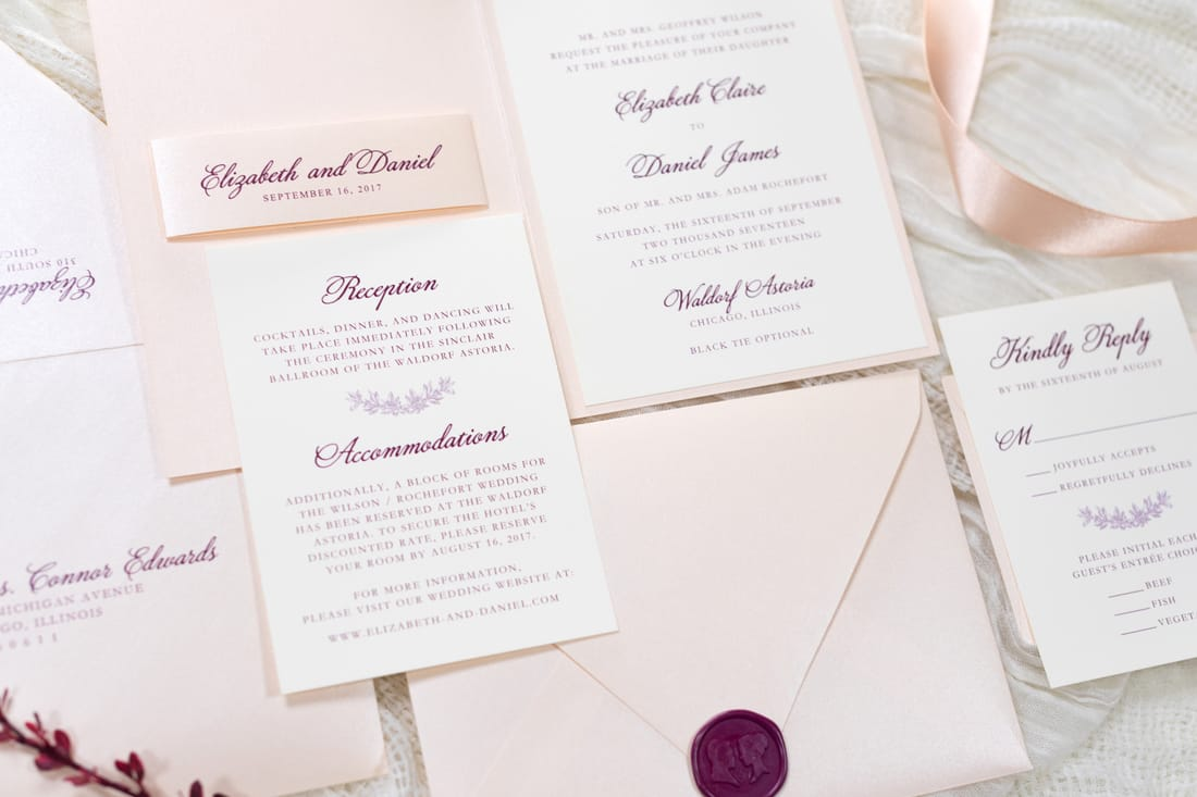 folding blush and opal shimmer wedding invitation with cameo ...