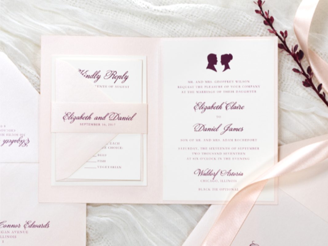 ELEGANT AND FORMAL FOLDING BLUSH AND OPAL SHIMMER WEDDING INVITATION WITH CAMEO SILHOUETTE WAX SEAL AND BELLY BAND