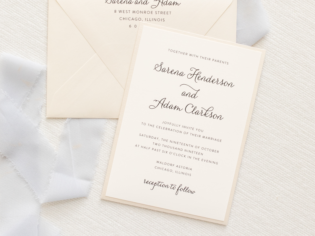 ELEGANT AND FORMAL LAYERED PANEL POCKET WEDDING INVITATION IN OPAL SHIMMER, IVORY, AND CHAMPAGNE