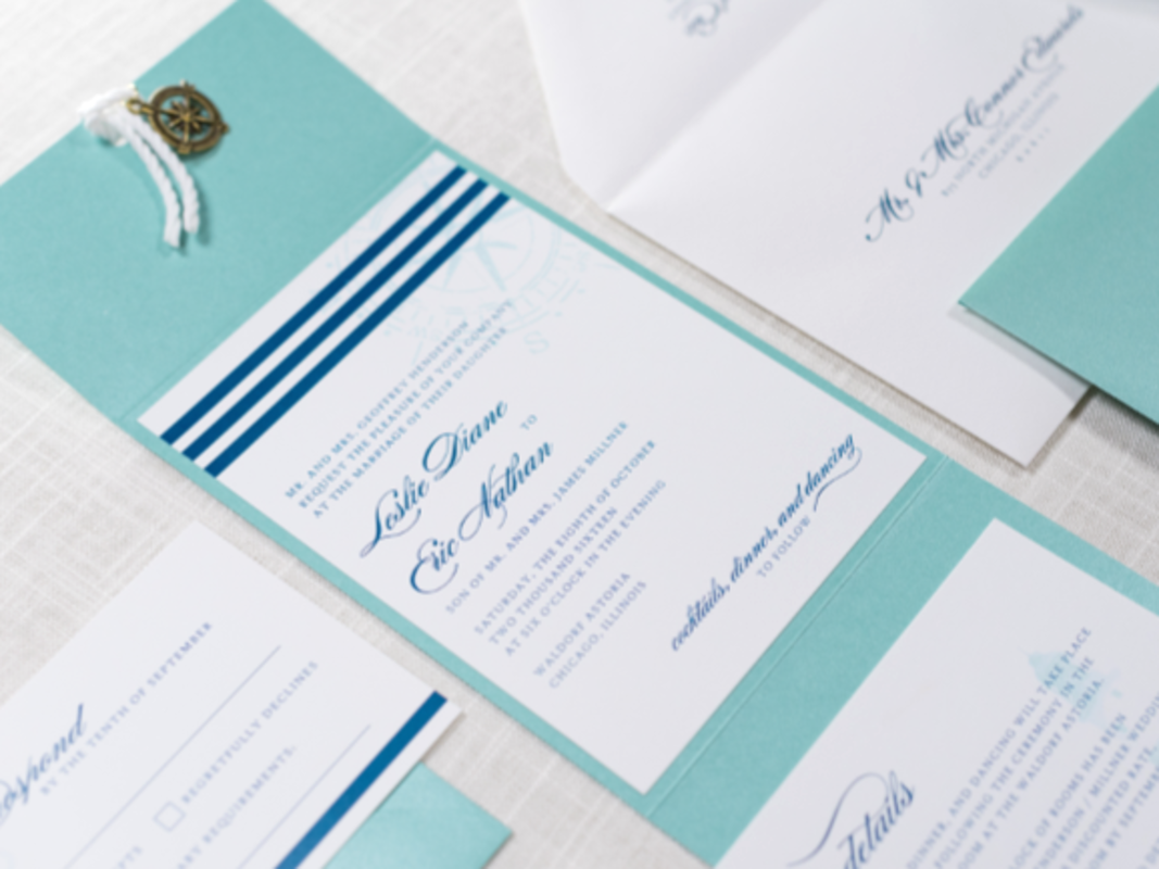 ELEGANT AND FORMAL NAUTICAL COMPASS CHARM AND ROPE POCKET FOLD WEDDING INVITATION IN WHITE AND TEAL TIFFANY BLUE, AND NAVY BLUE