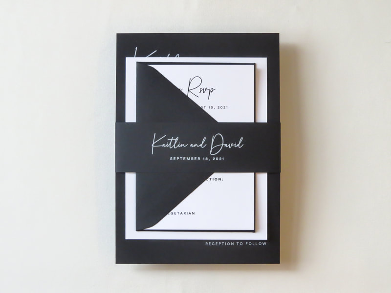 Modern Black and White Elegant Wedding Invitation Belly Band White Ink Printing on Black - Classic Simple Minimalist Walden Chicago