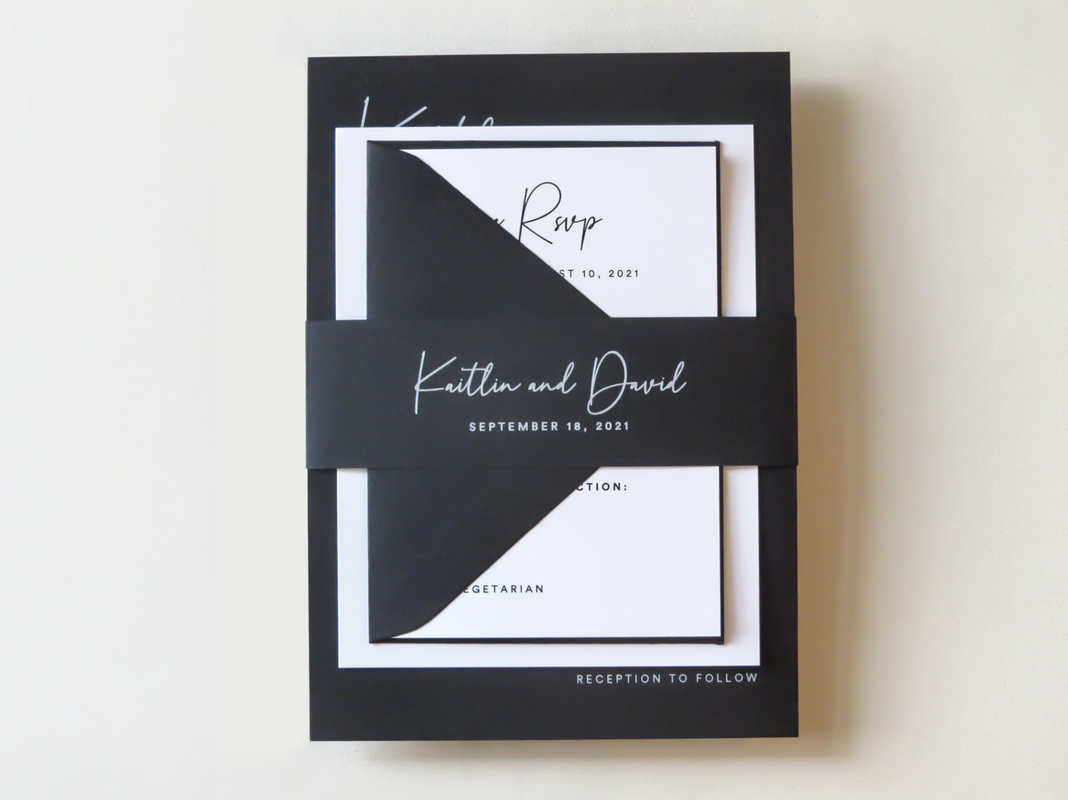 Modern Black and White Elegant Wedding Invitation Belly Band White Ink Printing on Black - Classic Simple Minimalist