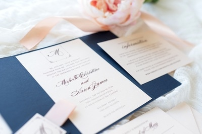 elegant & formal layered gatefold wedding invitation in navy blue, blush shimmer with a satin ribbon belly band and monogram square - chicago wedding invitations