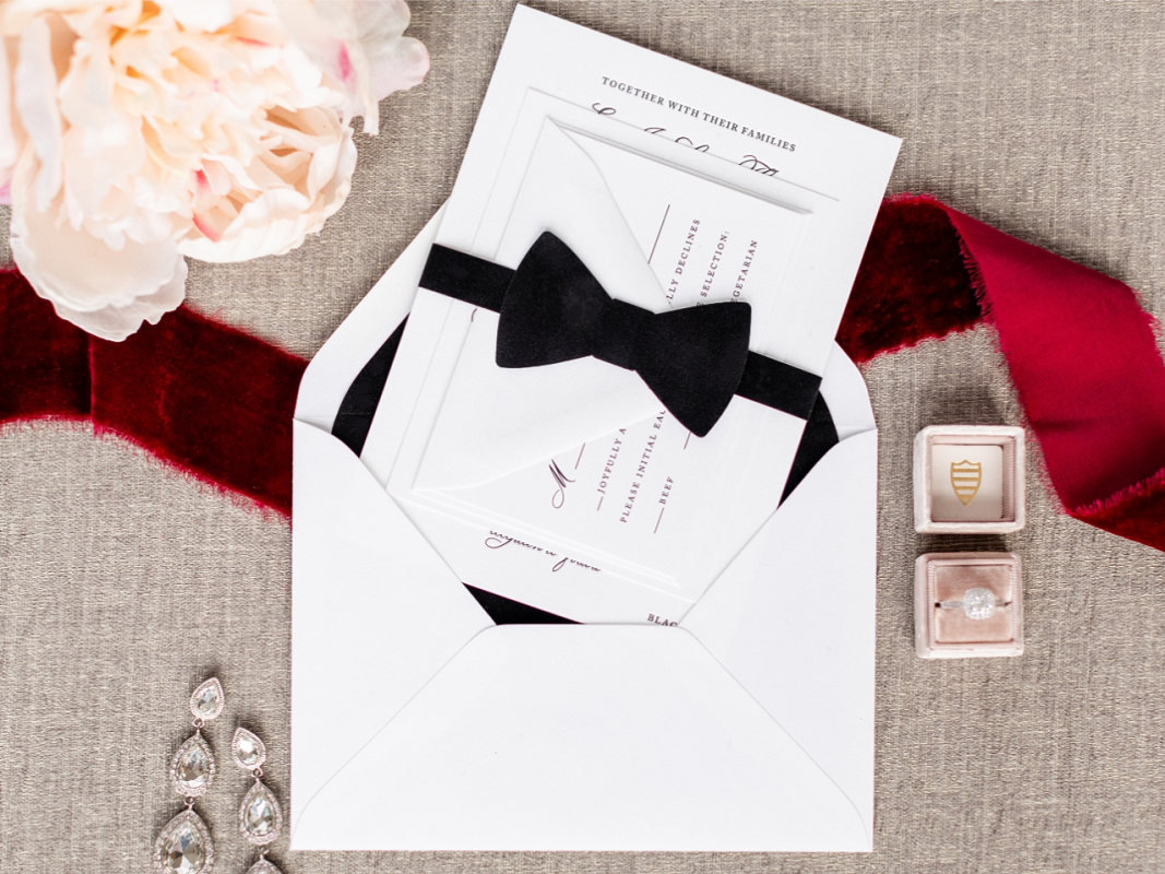 monroe-black-velvet-bow-tie-belly-band-envelope-liner-letterpress-wedding-invitation-chicago-second-city-stationery_1_origPicture