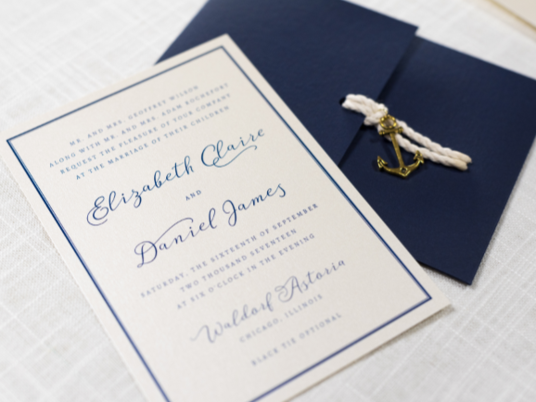 Elegant and Formal Nautical Anchor Charm and Rope Pocketfold Wedding Invitation - Navy Blue, Ivory, and Opal Champagne Shimmer