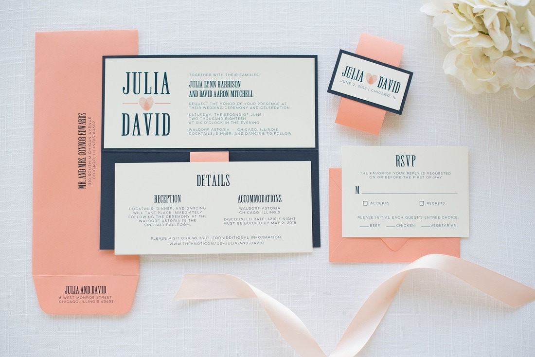 Navy Blue, Coral, and Ivory Wedding Invitation with Thumbprint Heart ...