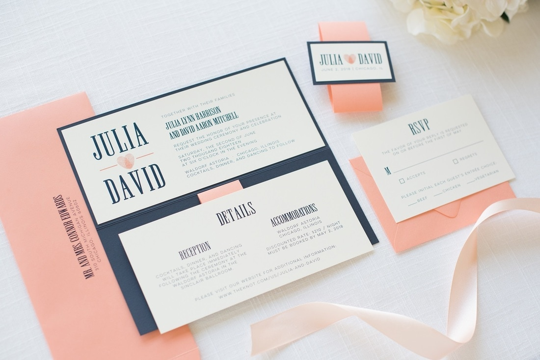 Blue And Coral Wedding Invitations: Modern And Elegant Rectangle Folding Wedding Invitation In