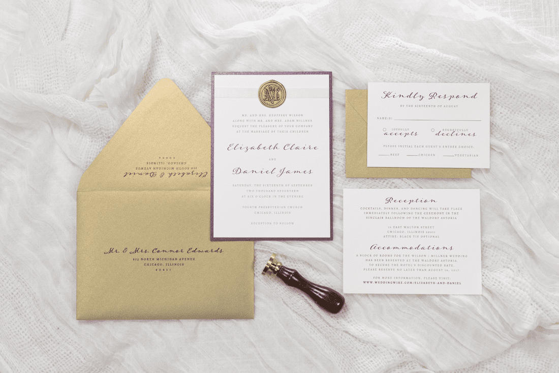 ivory, gold, and merlot metallic wedding invitation with ribbon and ...