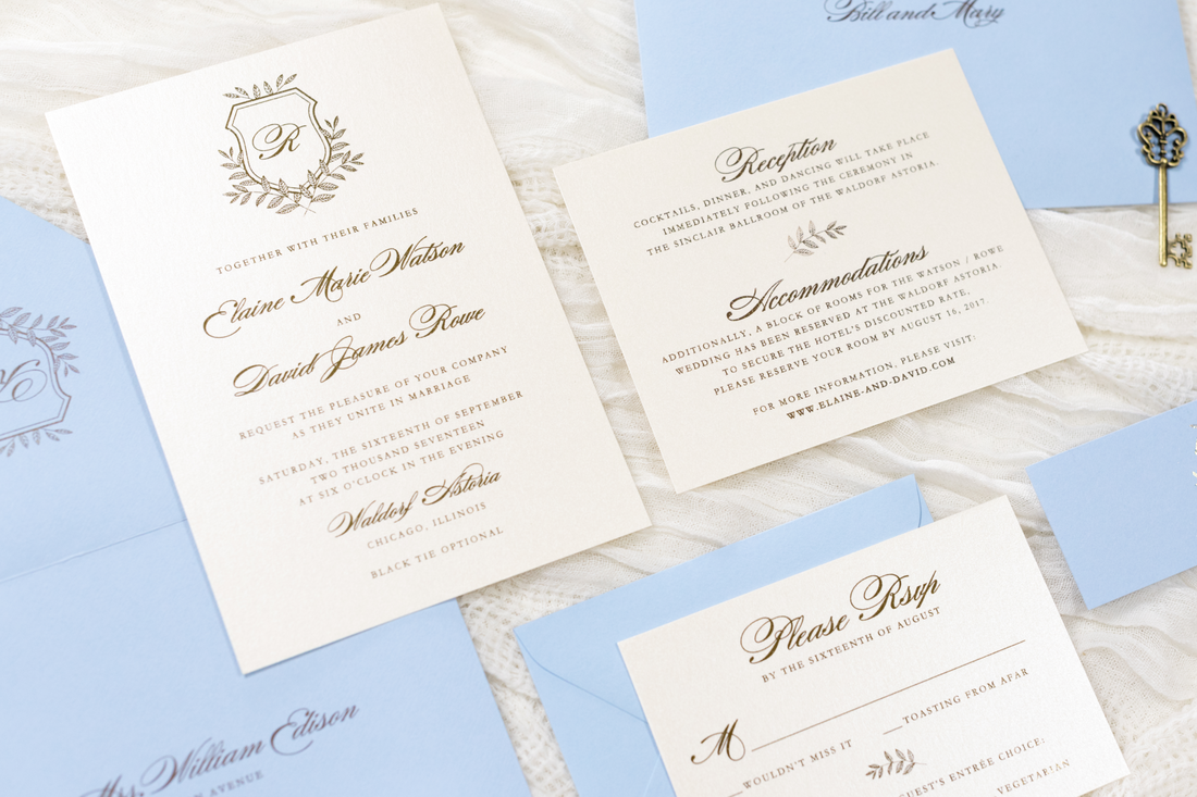 pale / serenity blue and opal shimmer wedding invitation with gold ...