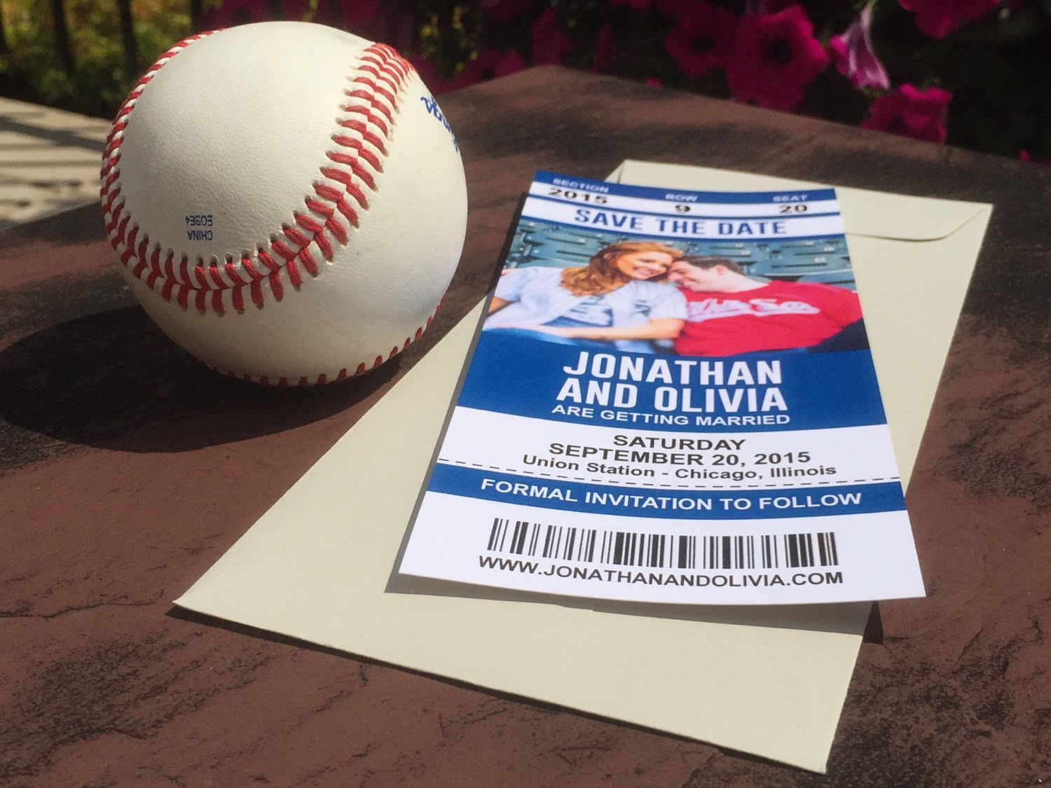 sports ticket save the dates wedding announcement cards baseball