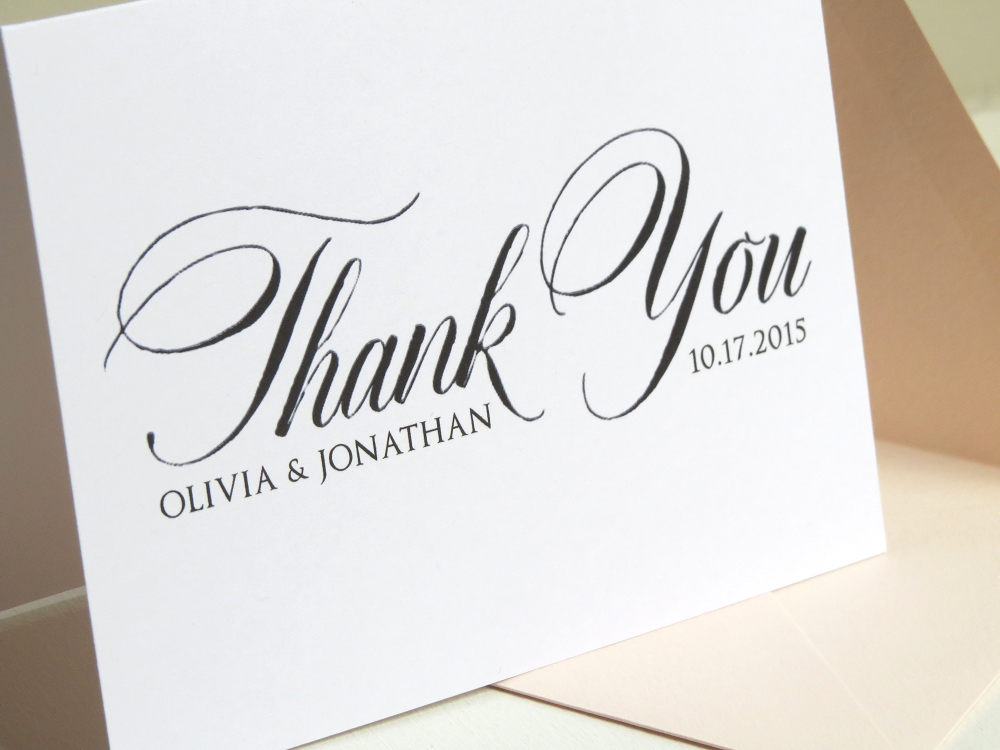 personalized custom color newlywed bridal shower or wedding thank you card stationery set - Custom Wedding Thank You Cards