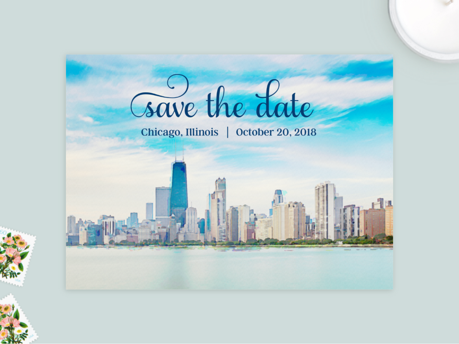 chicago skyline photo wedding save the date cards with engagement