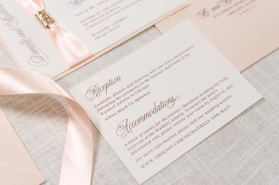 elegant & formal wedding invitation in ivory, blush, blush ribbon, & rose gold glitter - chicago wedding invitations