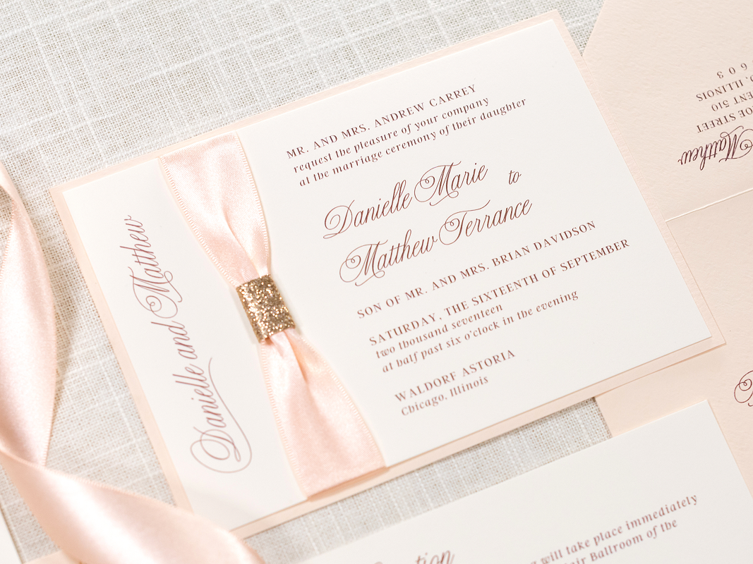 Elegant and Formal Layered Wedding Invitation with Satin Ribbon and Glitter Gather Embellishment - Ivory, Blush Shimmer, Blush Ribbon, and Rose Gold Glitter