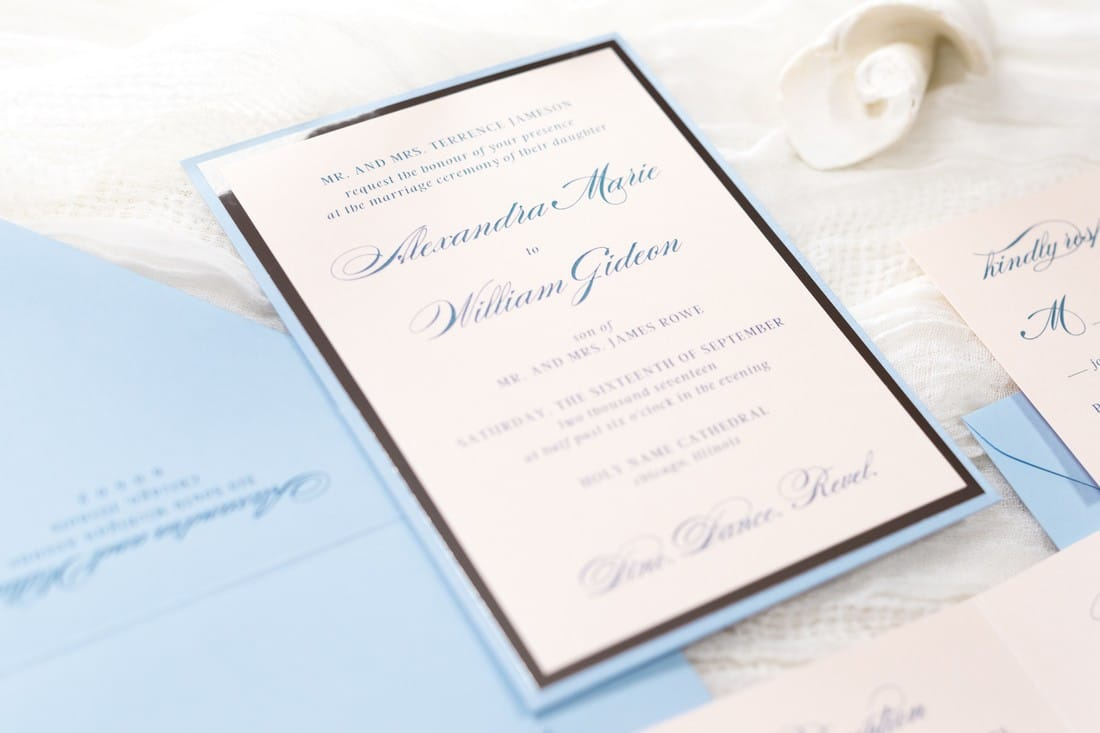 rose quartz serenity wedding invite blush shimmer, serenity blue, and silver foil panel pocket wedding invitation