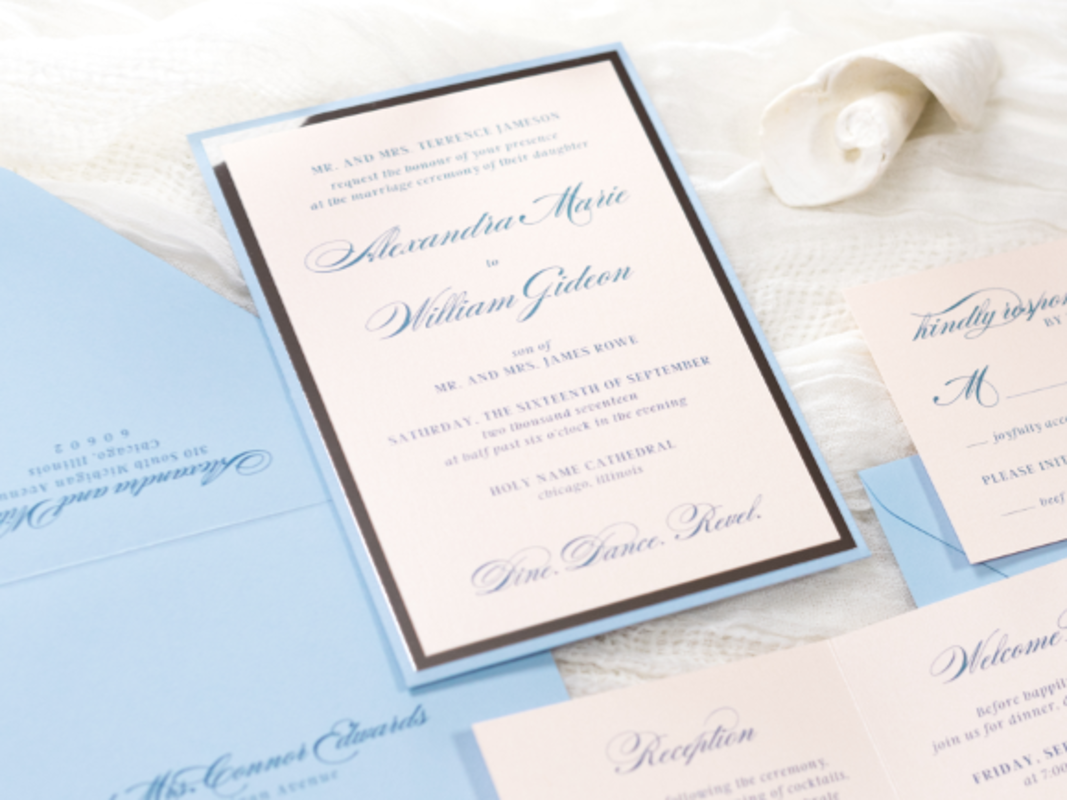 ELEGANT AND FORMAL BLUSH SHIMMER, SERENITY BLUE, AND SILVER FOIL PANEL POCKET WEDDING INVITATION