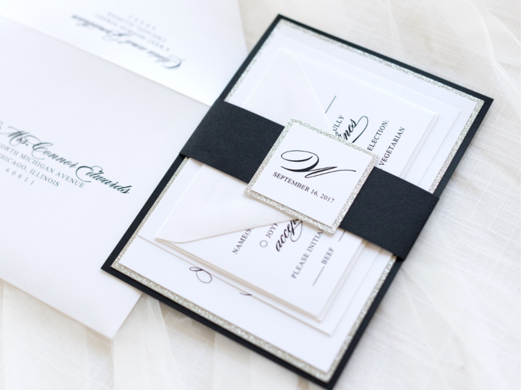 elegant formal wedding invitation in white, silver glitter, and black with belly band and layered monogram square - chicago wedding invitations