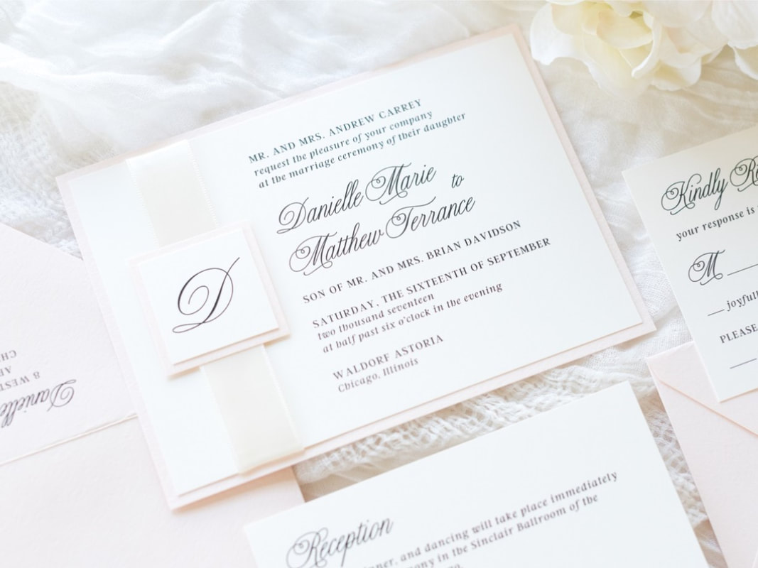 Elegant and Formal Layered Wedding Invitation with Satin Ribbon and Layered Monogram Design - Ivory, Blush, and Ivory Satin Ribbon