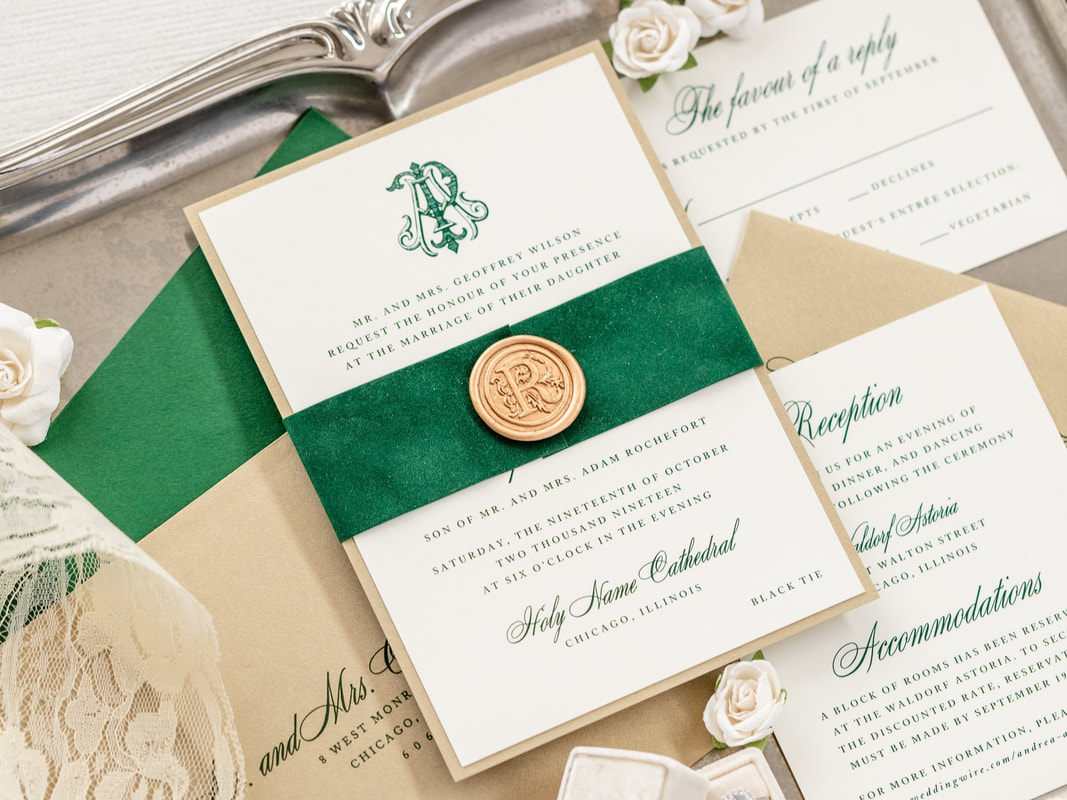 symphony-wedding invitation monogram crest wedding emerald-green-velvet-gold-wax-seal-gold-shimmer-wedding-invitation