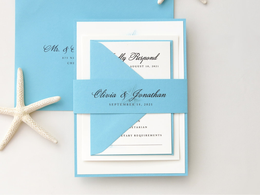 DESTINATION, BEACH, TROPICAL, OR RESORT WEDDING INVITATION SUITE - TURQUOISE AQUA AND IVORY - STARFISH PALM TREE DESIGN