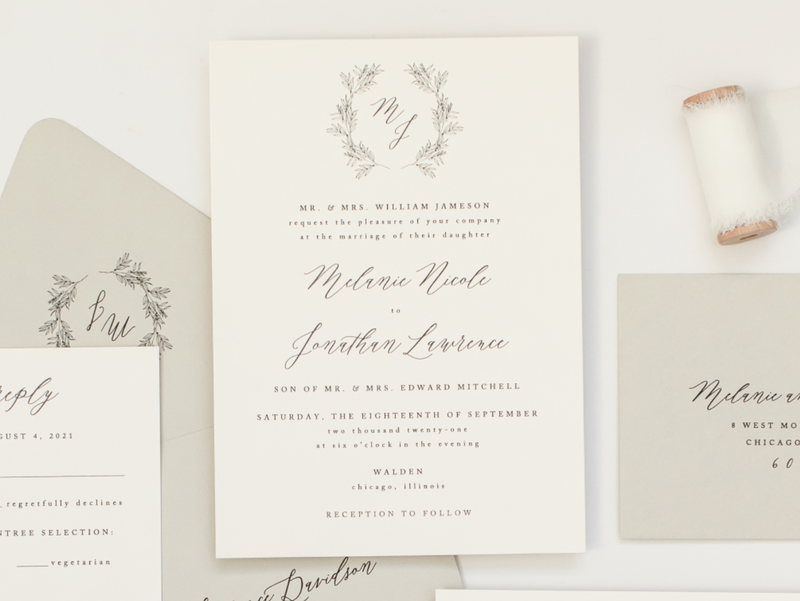 Walden Chicago Venue Collection Elegant Formal Wedding Invitation with Romantic Calligraphy Script and Botanical Wreath Floral Monogram