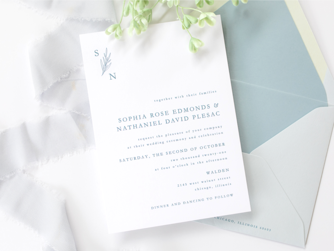 Walden Chicago Venue Collection Modern Minimalist Simple Formal Dusty French Blue  White Wedding Invitation Design  Envelope Liner  Printed Belly Band - Botanical Floral Monogram