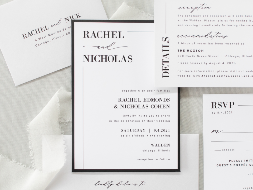 Walden Chicago Venue Collection Modern Formal Black White Shimmer Panel Pocket Wedding Invitation Elegant Calligraphy Script Simple Clean Lines