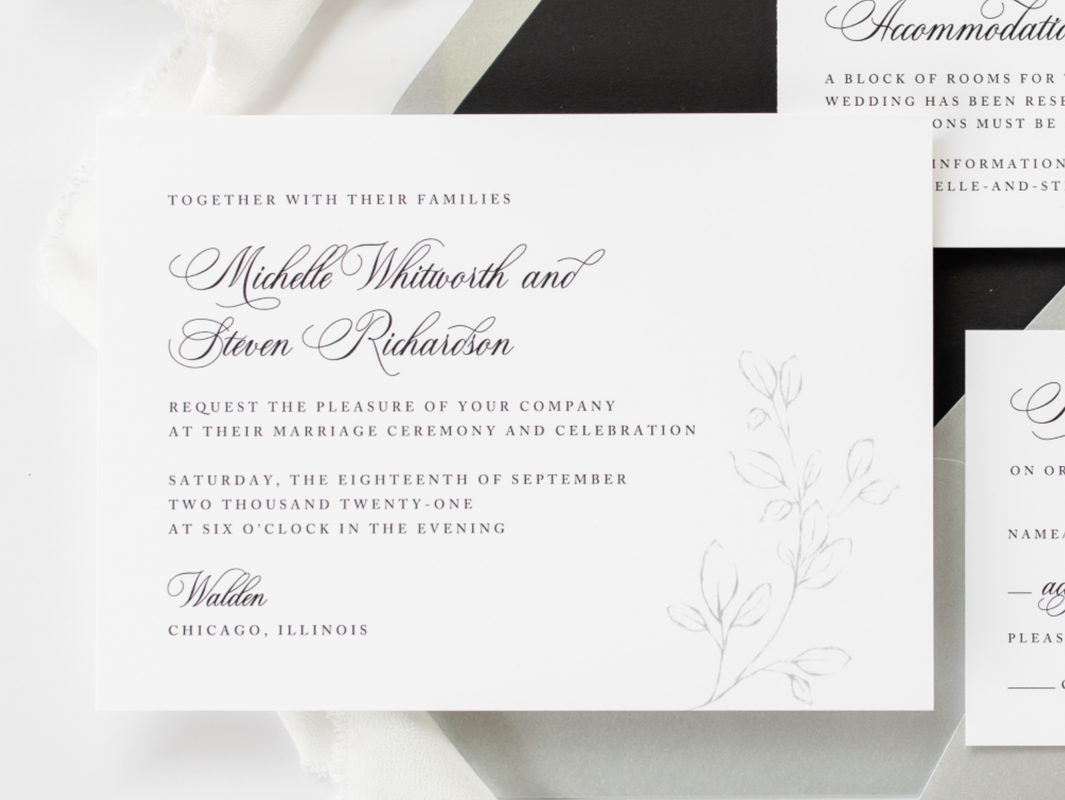 Walden Chicago Venue Modern Formal Black White Silver Wedding Invitation Botanical Branch Belly Band Wax Seal