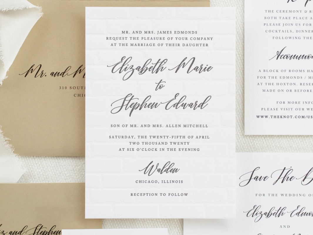 Walden Chicago Venue Modern Wedding Invitation Exposed Open Brick Blind Letterpress Deboss Pattern Modern Brush Script