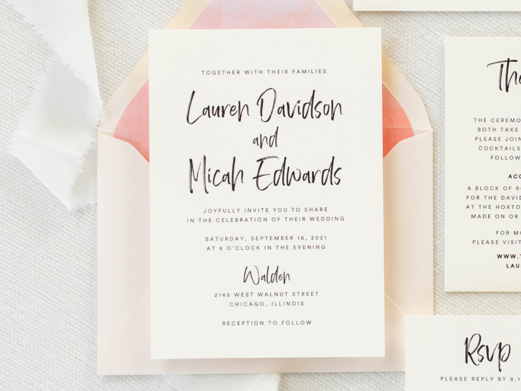 Walden Chicago Venue Modern Brush Script Invitation Ombre Watercolor Envelope Liner Belly Band