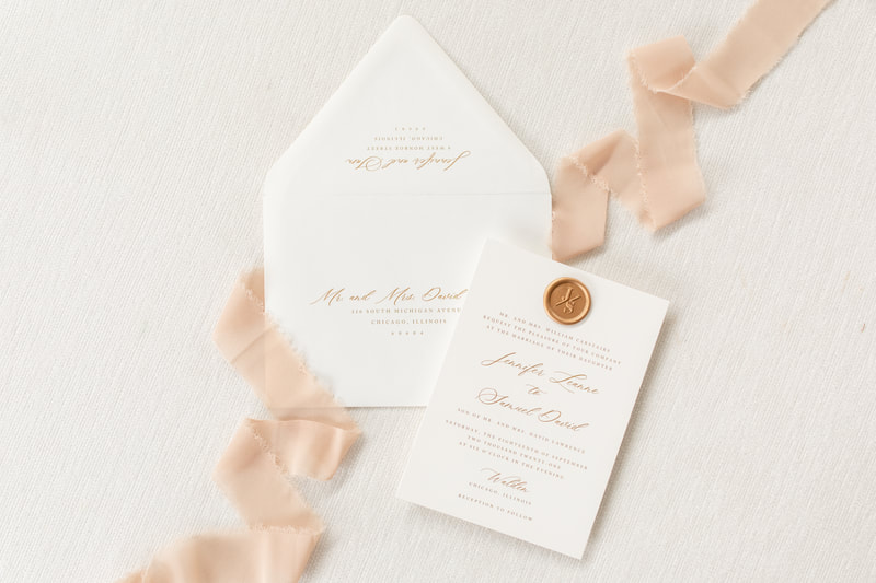 Walden Chicago Collection Elegant and Formal Wedding Invitation with a Wax Seal Embellishment Calligraphy Script Font and Envelope Liner - White and Gold Romantic - Monogram