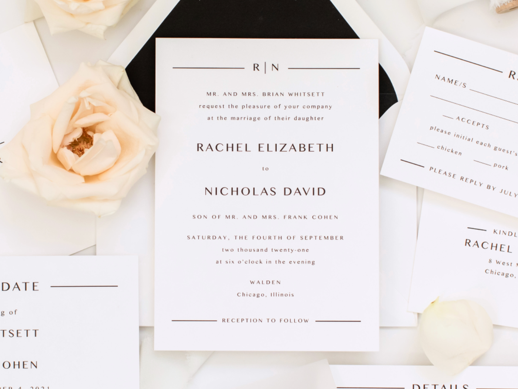Walden Chicago Wedding Venue Collection Modern and Formal Black and White Wedding Invitation Design with Envelope Liner and Vellum Belly Band