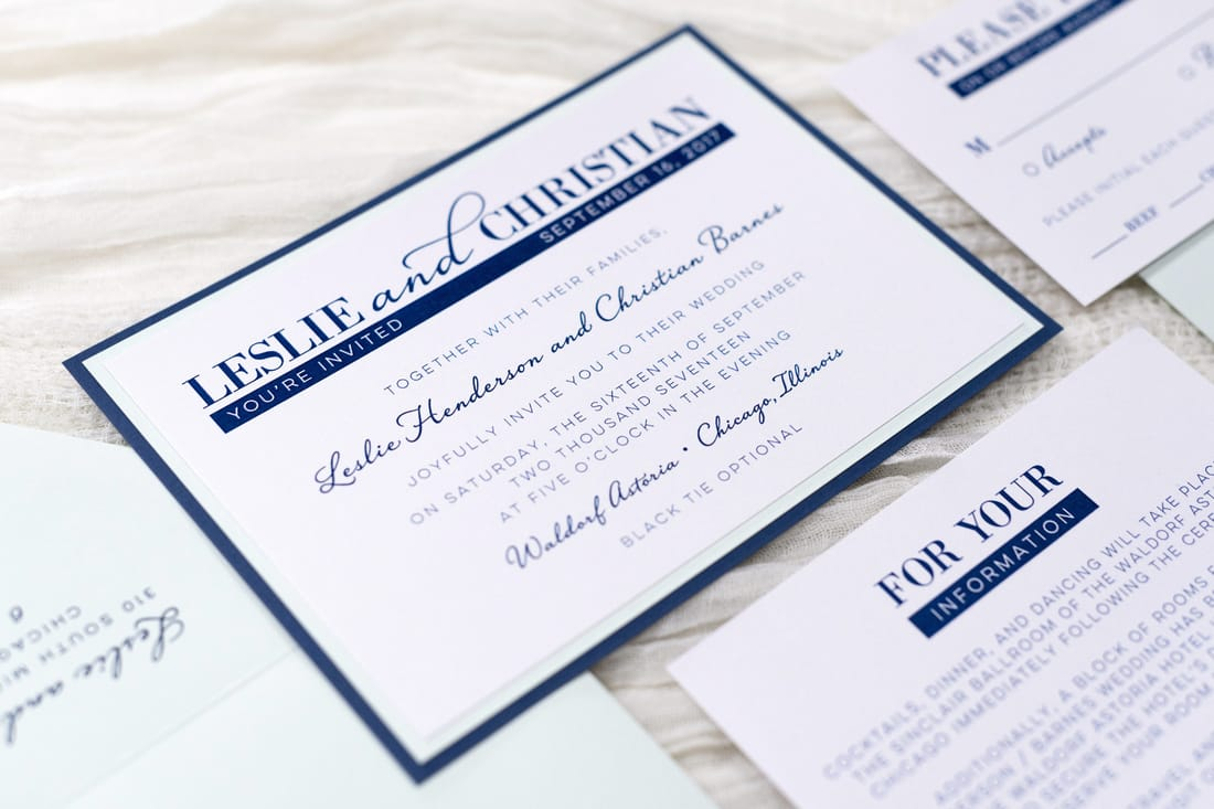 modern and elegant layered white, navy blue, and powder green / sage wedding invitation - chicago wedding invitations