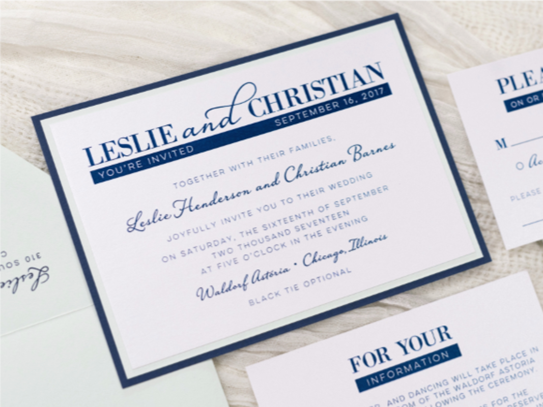 MODERN AND ELEGANT LAYERED WHITE, NAVY BLUE, AND POWDER GREEN SAGE WEDDING INVITATION