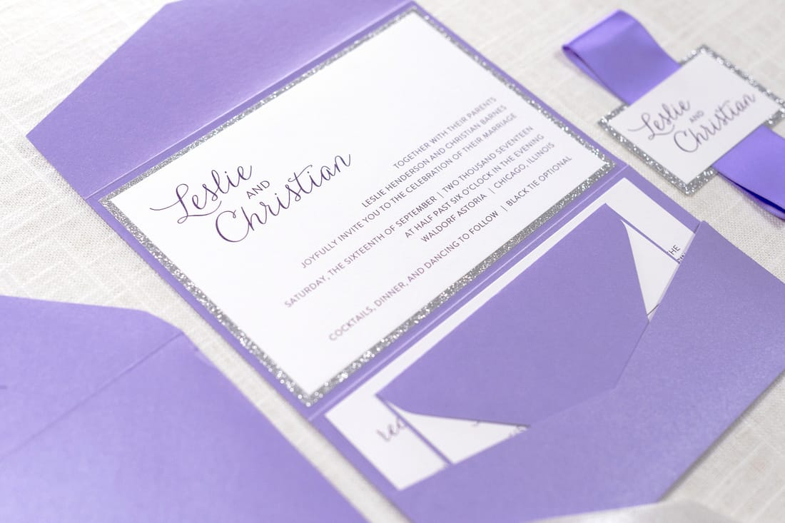 silver glitter and purple shimmer pocketfold and ribbon wedding invitation suite