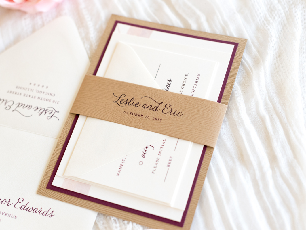 wood grain wedding invitation layered with ivory and burgundy ...